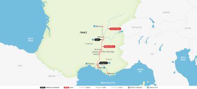 Map for Burgundy & Provence 2020 (Avignon to Lyon)
