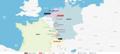 Map for Castles along The Rhine 2019 (Basel to Amsterdam)
