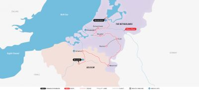 Map for Holland & Belgium at Tulip Time 2019 (Brussels to Amsterdam)