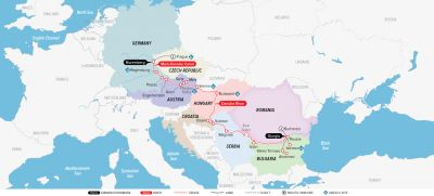 Map for Portraits of Eastern Europe 2019 (Bucharest to Prague)