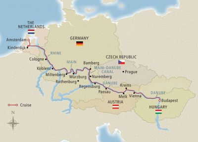 Map for Grand European Tour Budapest to Amsterdam