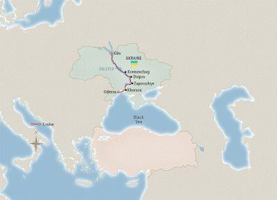Map for Kiev to the Black Sea Kiev to Odessa