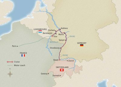 Map for Paris to the Swiss Alps Zurich to Paris