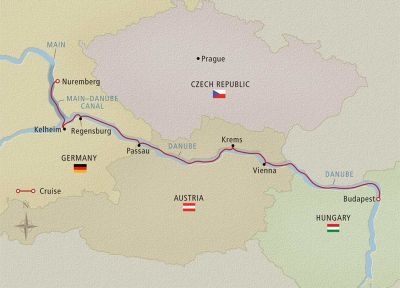 Map for Romantic Danube Budapest to Nuremberg